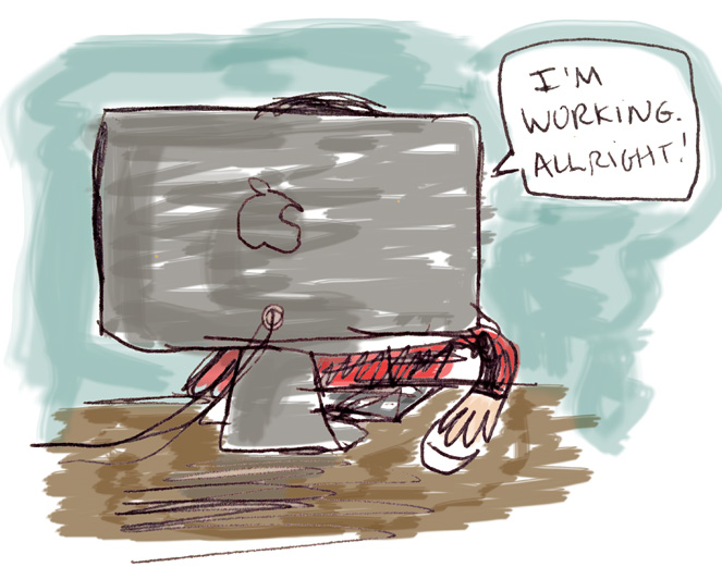 carolyn working mac update blog cartoon