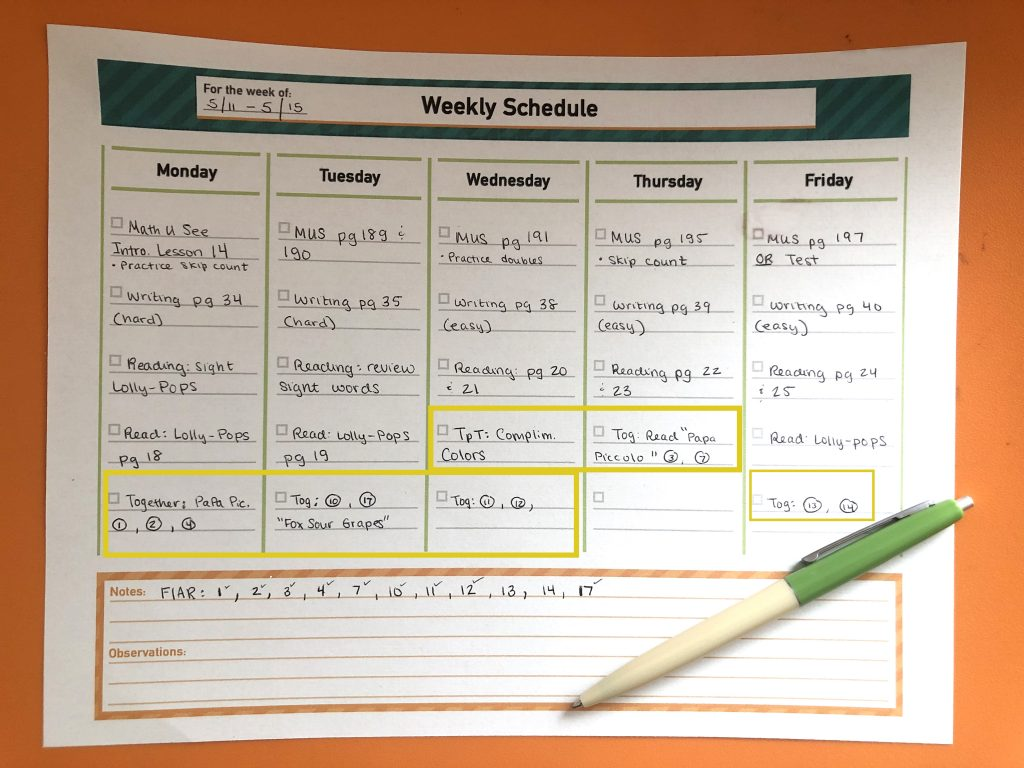 homeschool schedule weekly