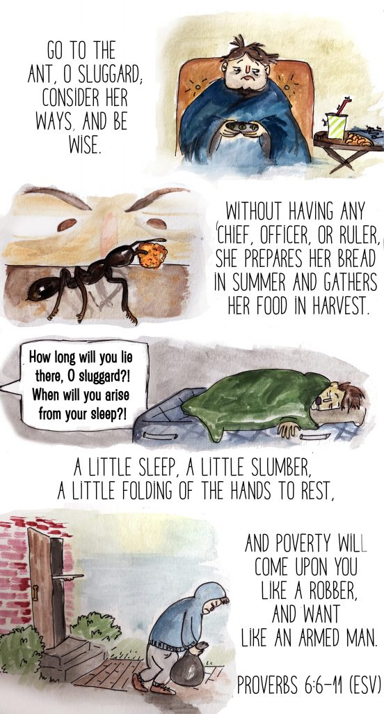 Proverbs 6:6-11 sluggard ant poverty wisdom